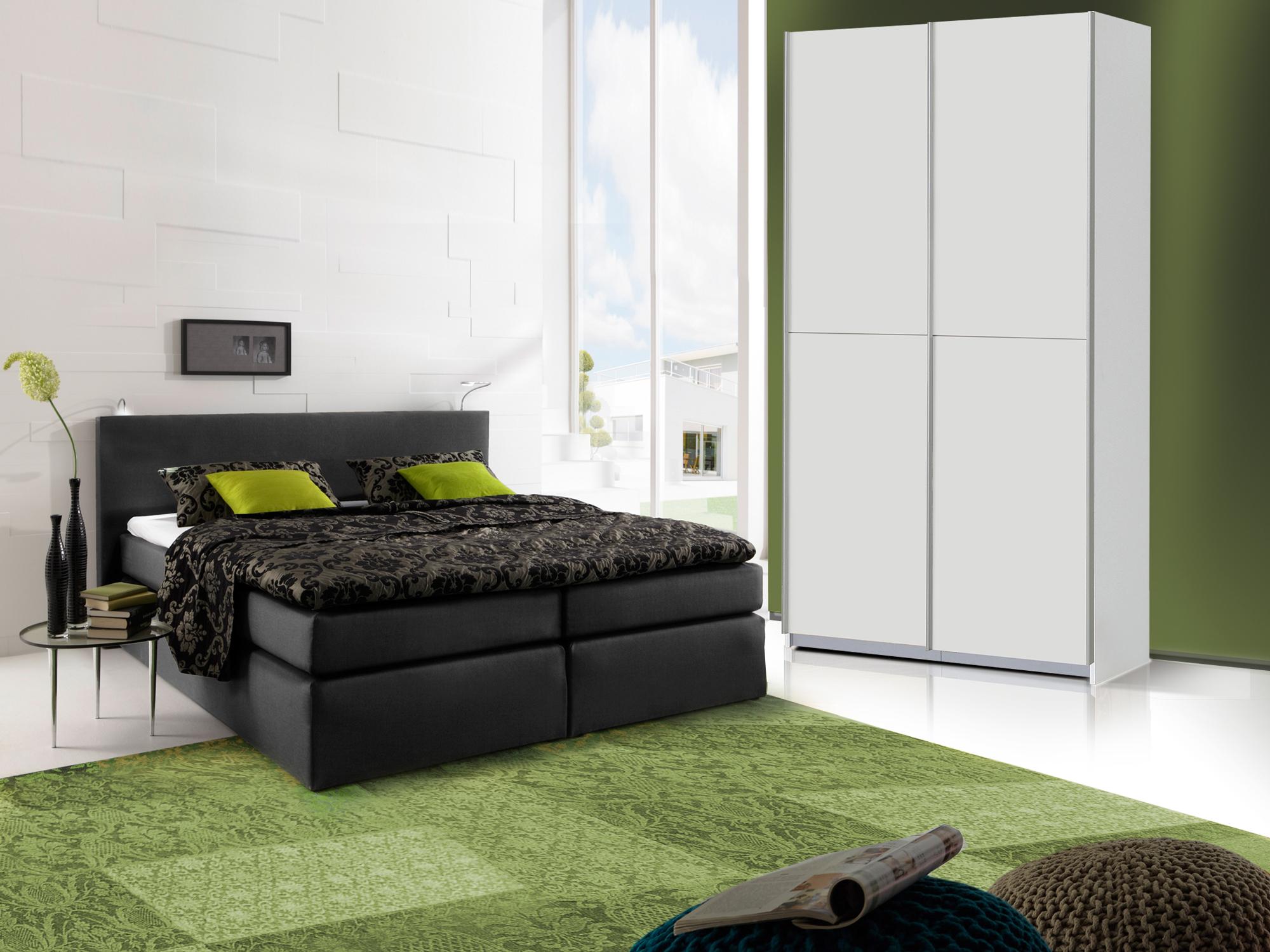 oreno schlafzimmerset schrank und boxspringbett schwarz 140x200 cm weiss. Black Bedroom Furniture Sets. Home Design Ideas