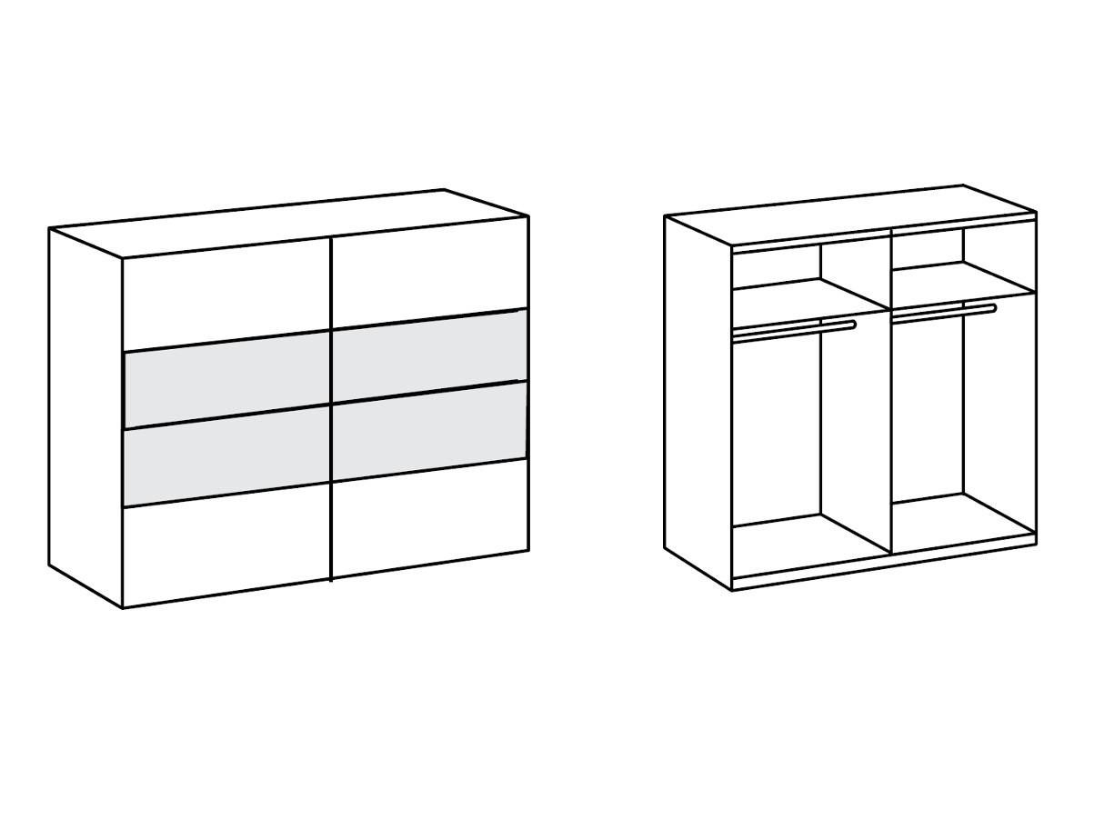 flores schwebet renschrank wei eiche anthrazit 180 cm. Black Bedroom Furniture Sets. Home Design Ideas