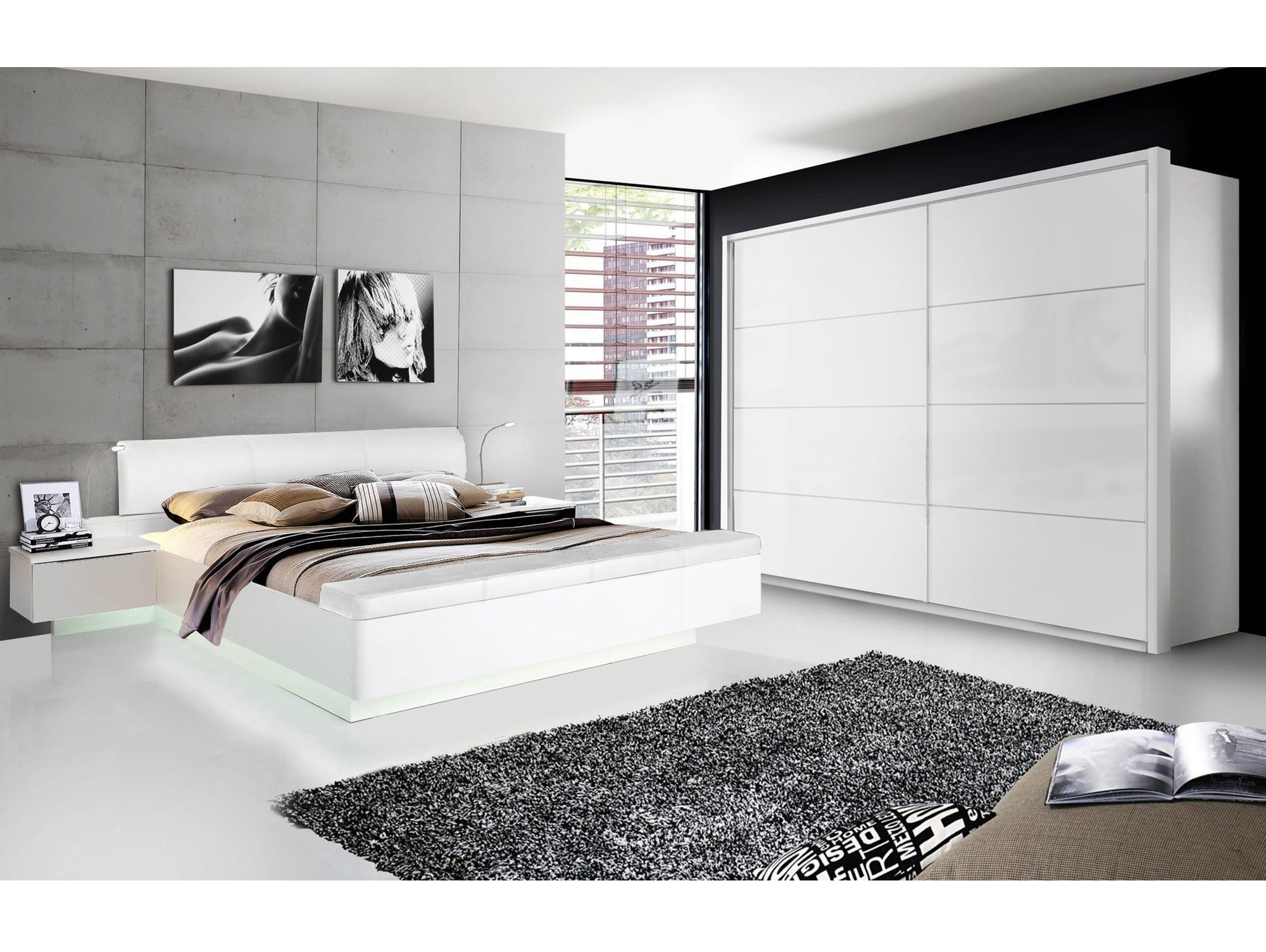 silent komplett schlafzimmer weiss hochglanz 4 teilig 200 cm. Black Bedroom Furniture Sets. Home Design Ideas