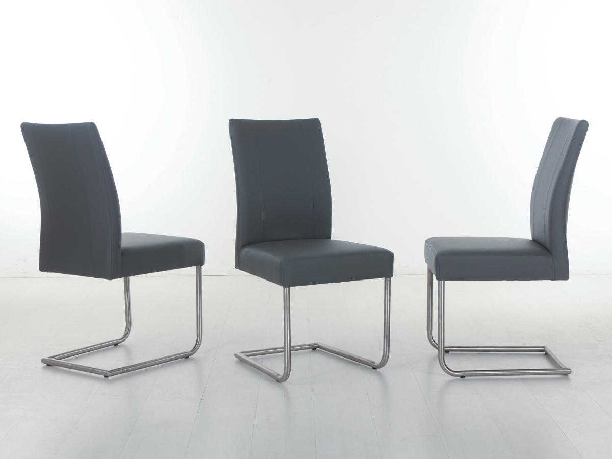 spider freischwinger esstischstuhl kunstleder grau. Black Bedroom Furniture Sets. Home Design Ideas