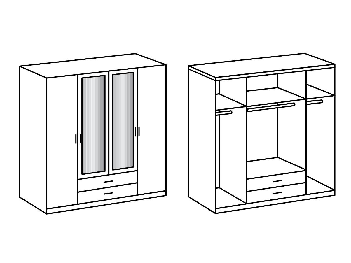 swen kleiderschrank mit spiegel 180 cm 4 t rig weiss. Black Bedroom Furniture Sets. Home Design Ideas