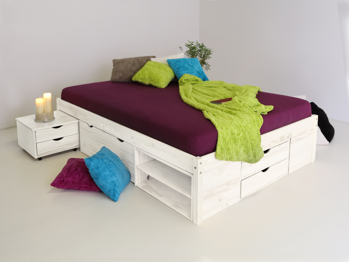tilo funktionsbett kiefer massiv wei 140 cm. Black Bedroom Furniture Sets. Home Design Ideas