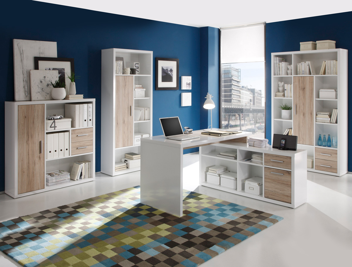 tokio arbeitsplatz weiss eiche san remo hell. Black Bedroom Furniture Sets. Home Design Ideas