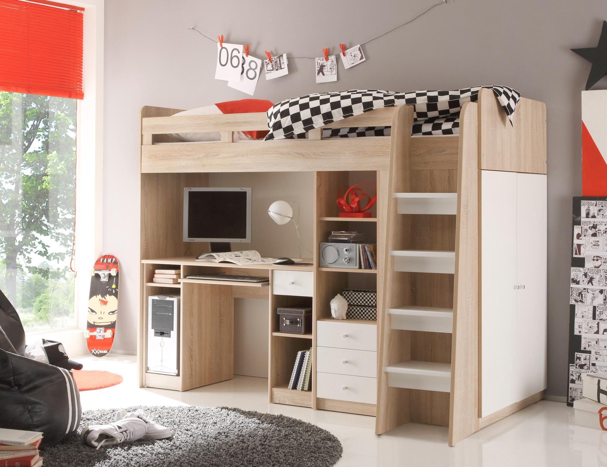 unity 3in1 hochbett 90x200 cm eiche sonoma wei. Black Bedroom Furniture Sets. Home Design Ideas