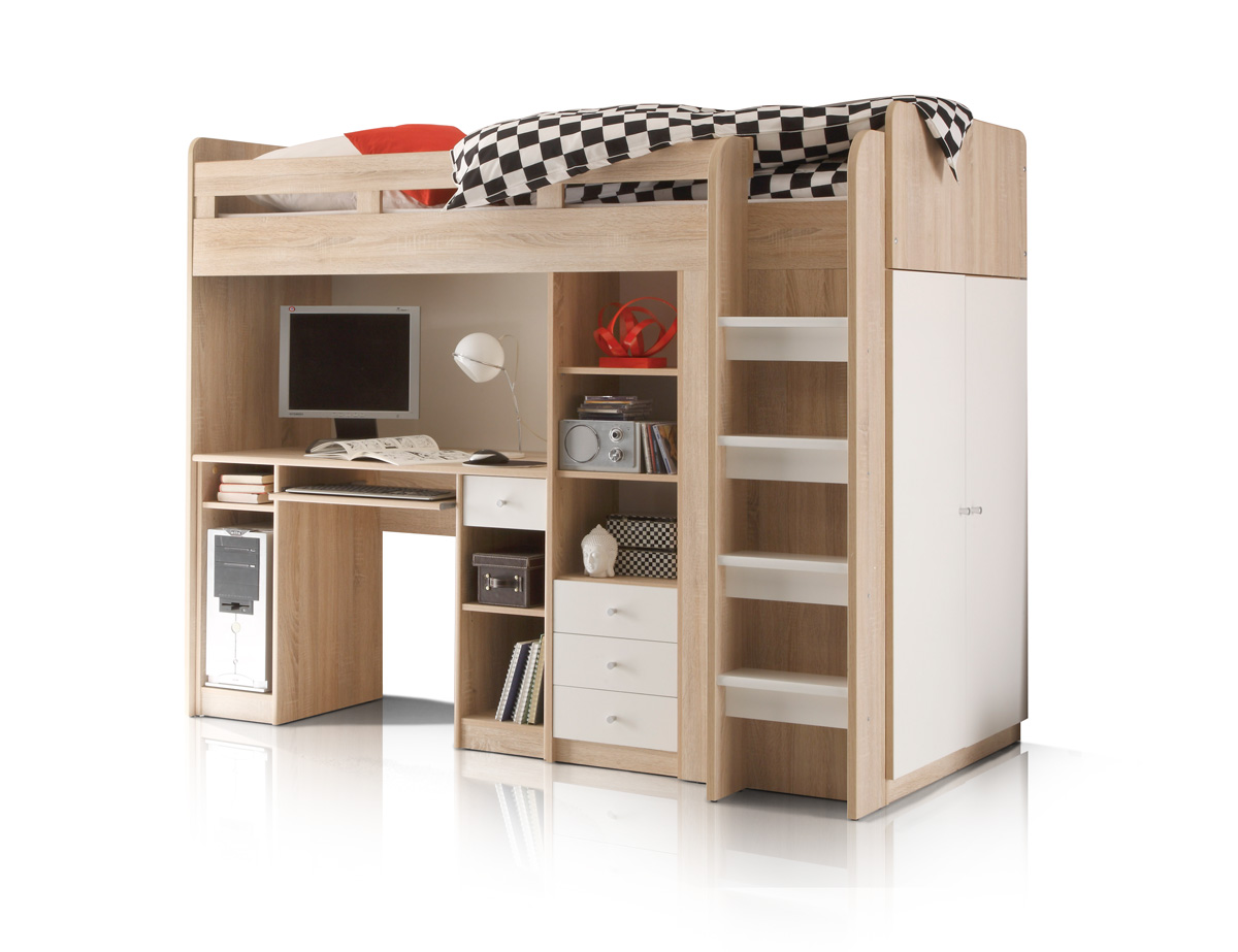 unity 3in1 hochbett 90x200 cm eiche sonoma wei. Black Bedroom Furniture Sets. Home Design Ideas