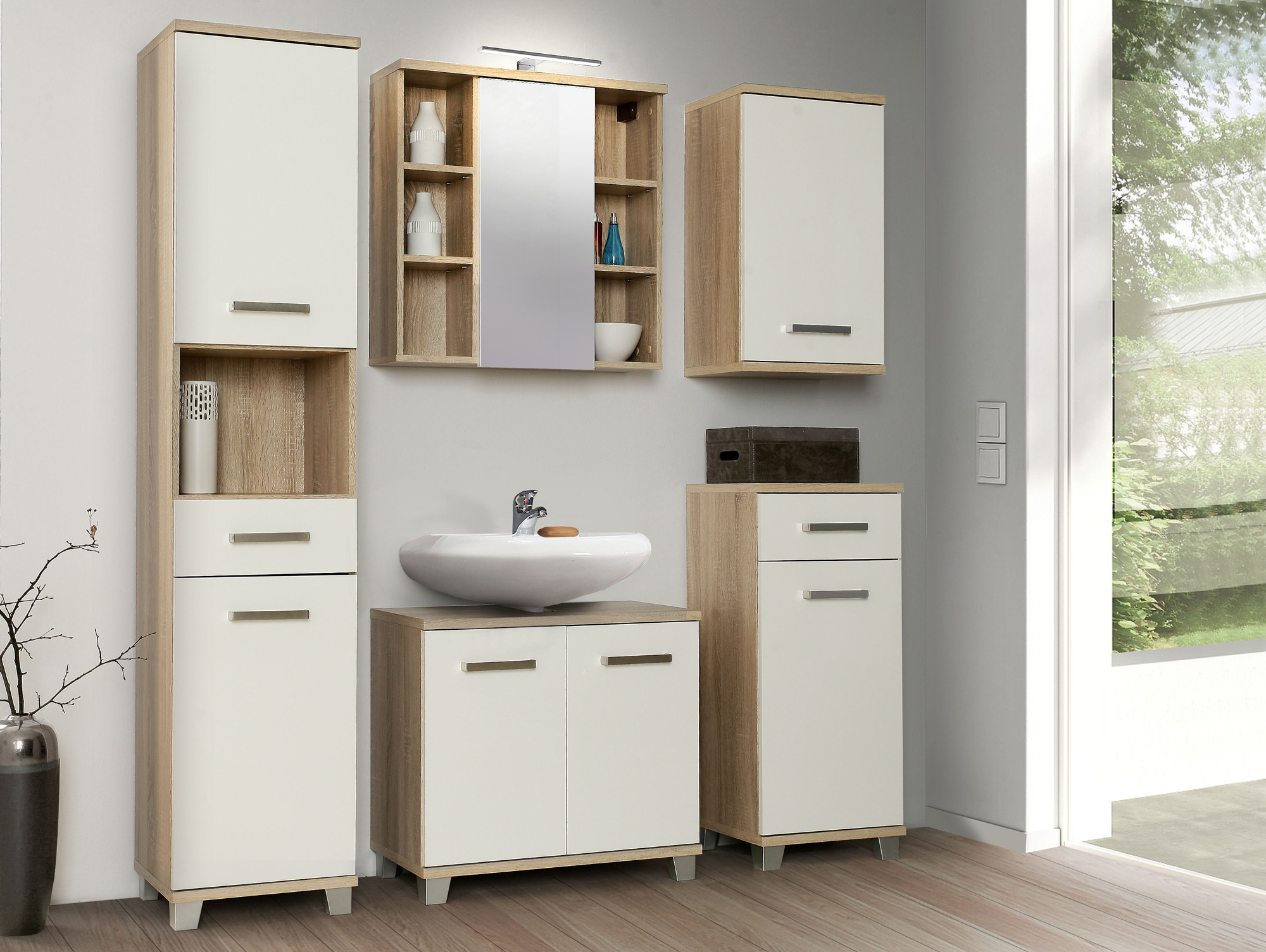 venus spiegelschrank mit spiegel eiche weiss hg. Black Bedroom Furniture Sets. Home Design Ideas