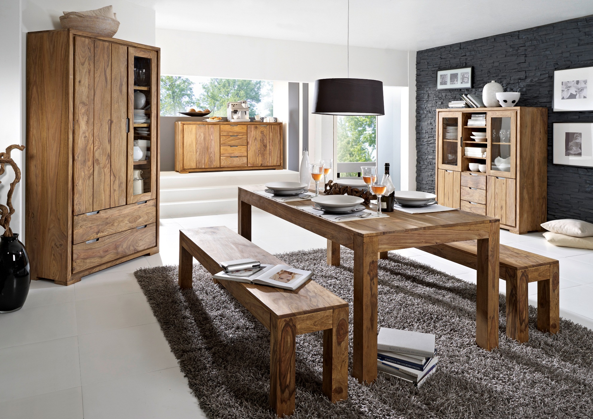 Whitney massivholz sideboard sheesham gebeizt for Sideboard esszimmer design