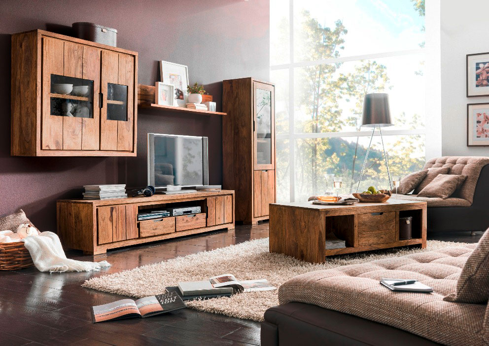 whitney mountain h ngeschrank sheesham gebeizt. Black Bedroom Furniture Sets. Home Design Ideas