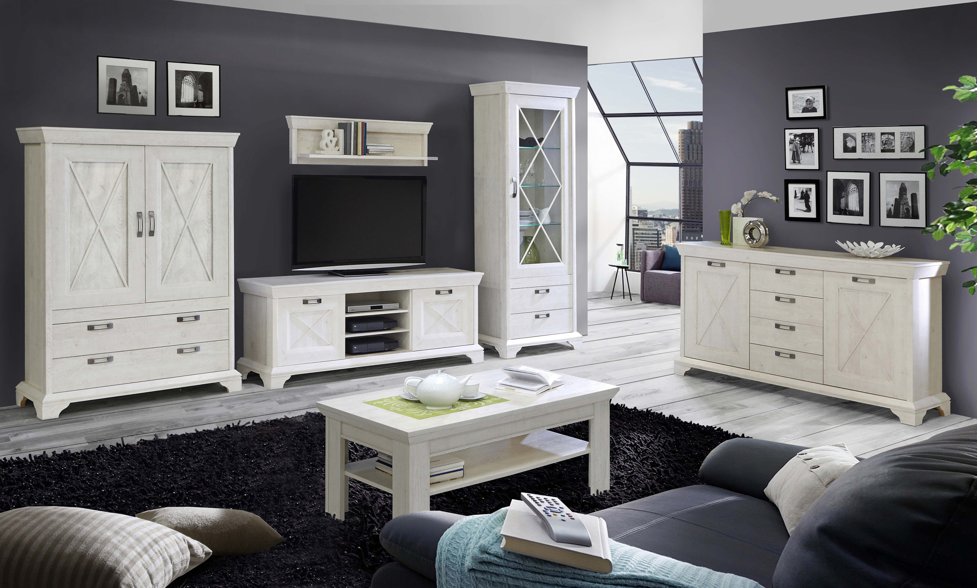 kasha wohnwand pinie weiss. Black Bedroom Furniture Sets. Home Design Ideas