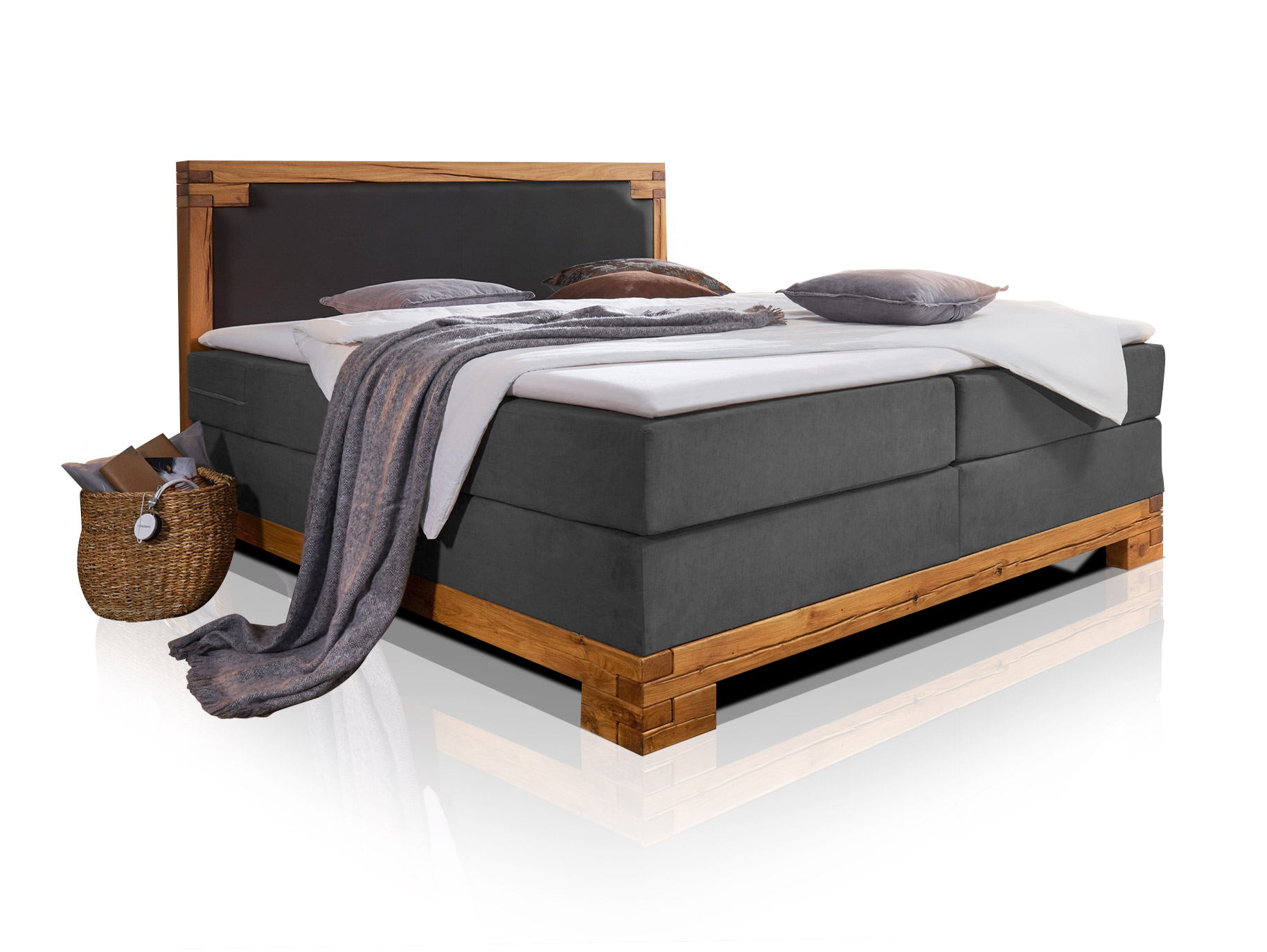 boxspringbett massivholzrahmen bellamie boxspring bett doppelbett 160 180 200 cm ebay. Black Bedroom Furniture Sets. Home Design Ideas