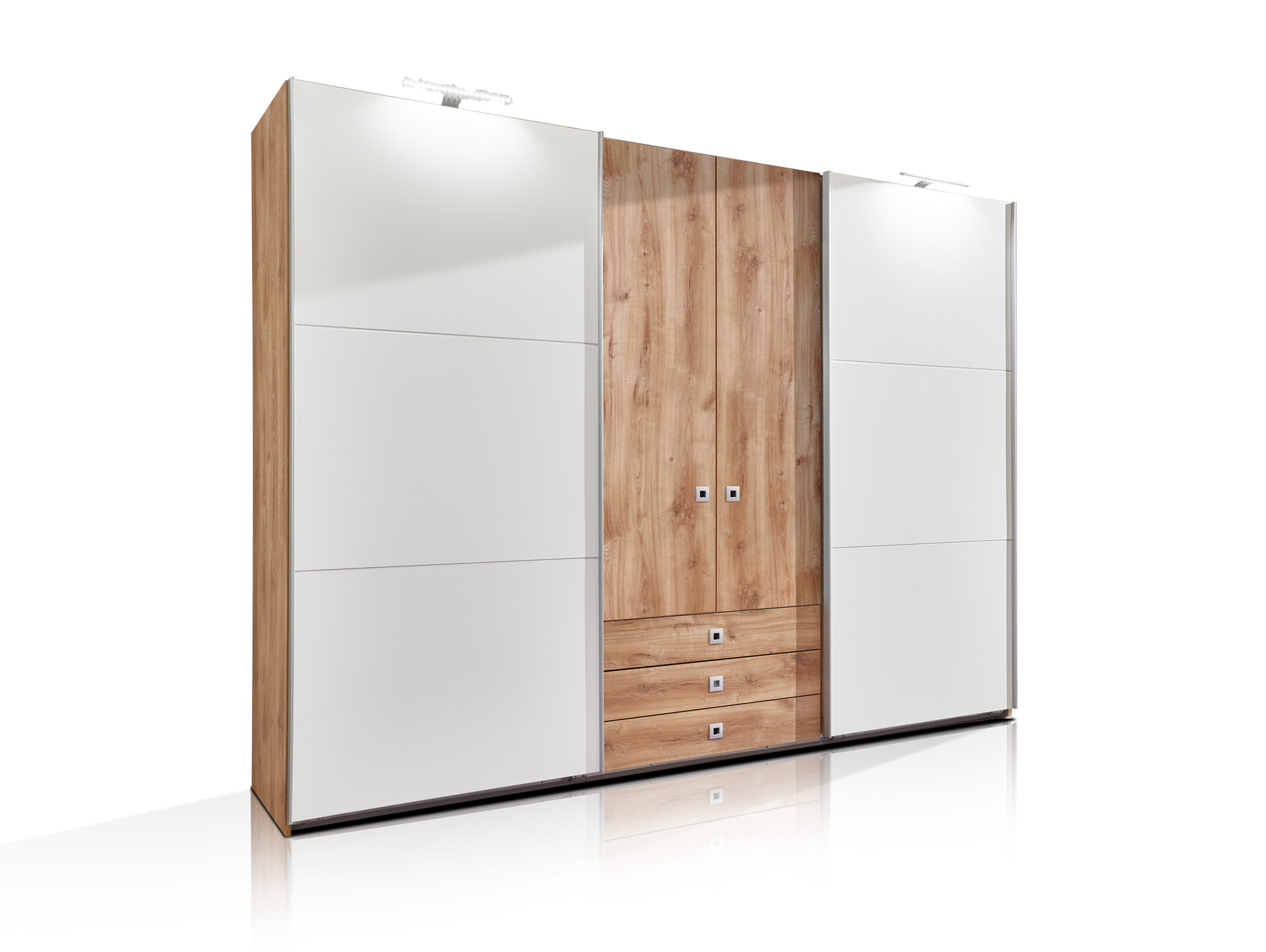 toledo kleiderschrank schwebe dreht renschrank plankeneiche weiss ohne spiegel. Black Bedroom Furniture Sets. Home Design Ideas