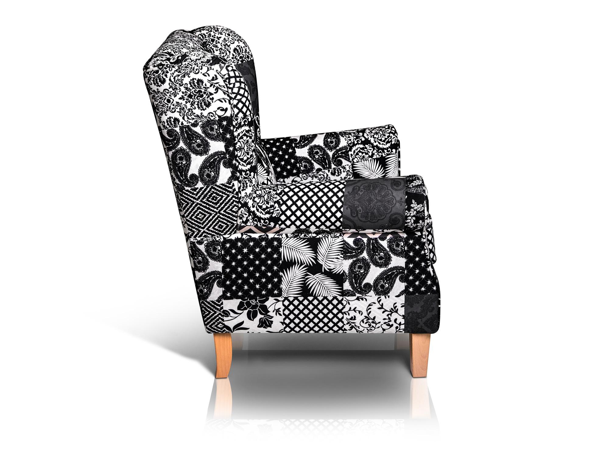 ohrensessel willy patchwork schwarz 9022. Black Bedroom Furniture Sets. Home Design Ideas