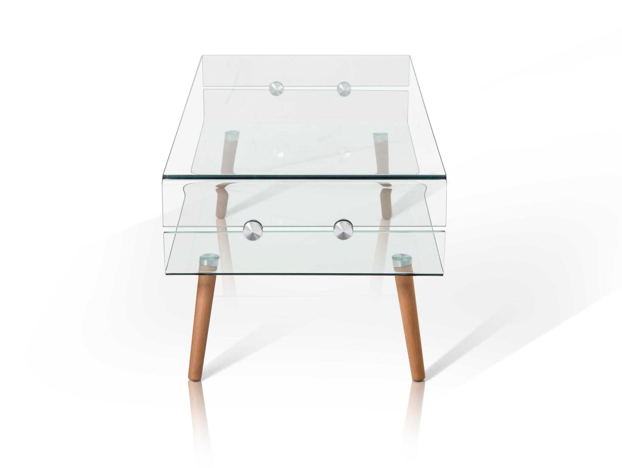 REGINA Couchtisch GlasFüße Buche 110×45 cm