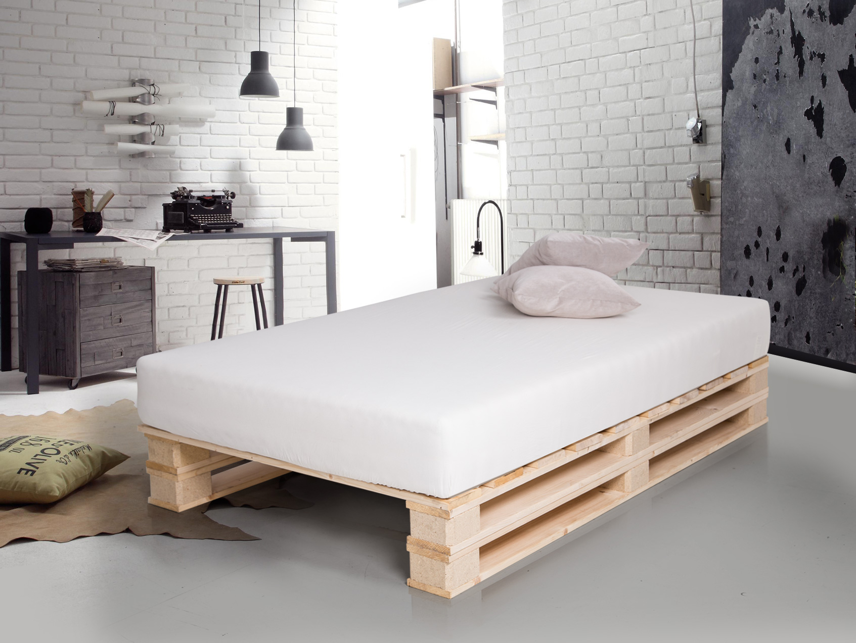 paletti duo massivholzbett aus paletten 90 x 200 cm fichte natur. Black Bedroom Furniture Sets. Home Design Ideas