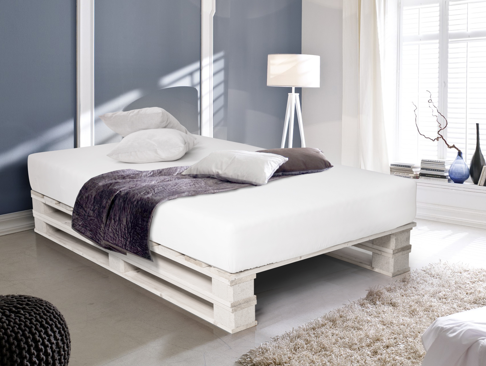 paletti duo massivholzbett palettenbett 90 x 200 cm fichte weiss. Black Bedroom Furniture Sets. Home Design Ideas