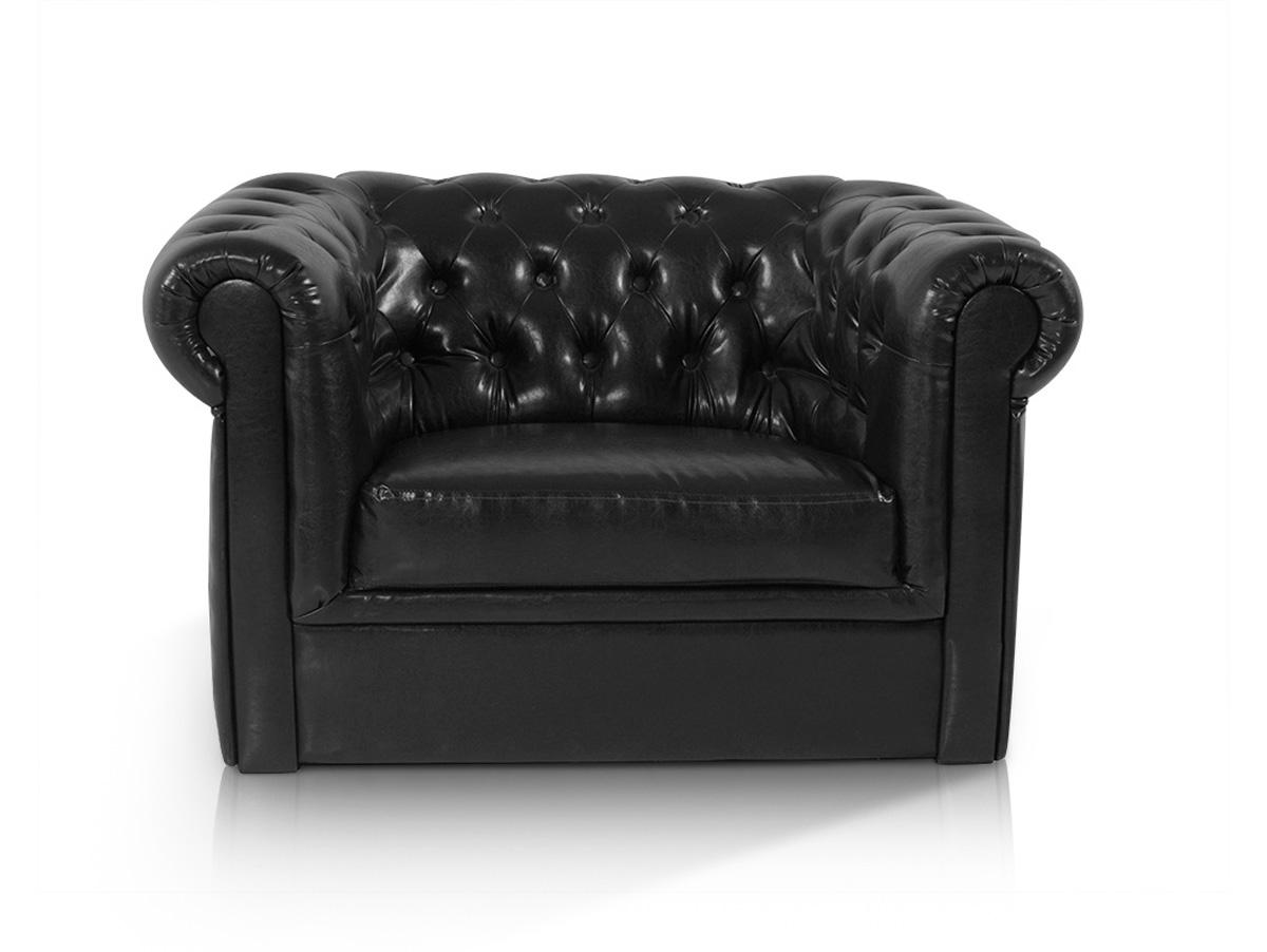 chesterfield 1er sessel polstersessel antikschwarz. Black Bedroom Furniture Sets. Home Design Ideas
