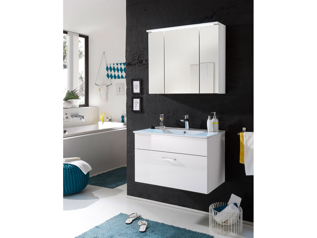 sunny spiegelschrank inkl led beleuchtung weiss. Black Bedroom Furniture Sets. Home Design Ideas