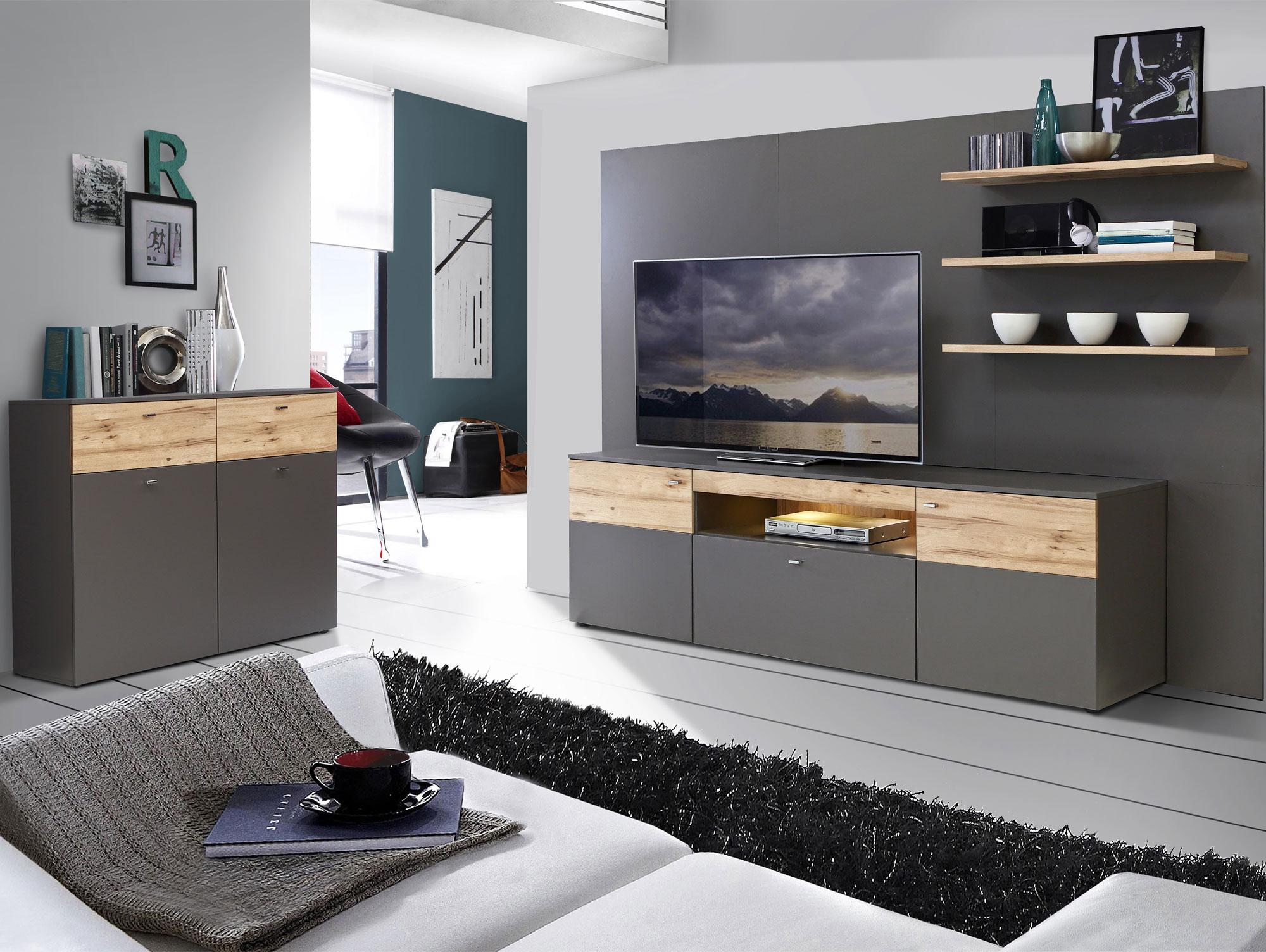 kommode clara mit 2 t ren wolfram grau planked eiche. Black Bedroom Furniture Sets. Home Design Ideas