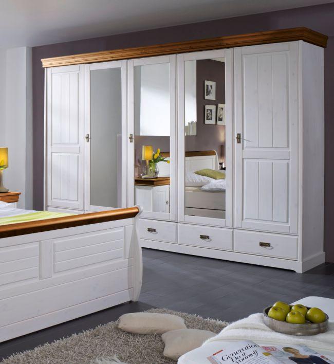 romeo komplett-schlafzimmer kiefer weiss/honig   ohne bettkasten - Schlafzimmer Kiefer Weis