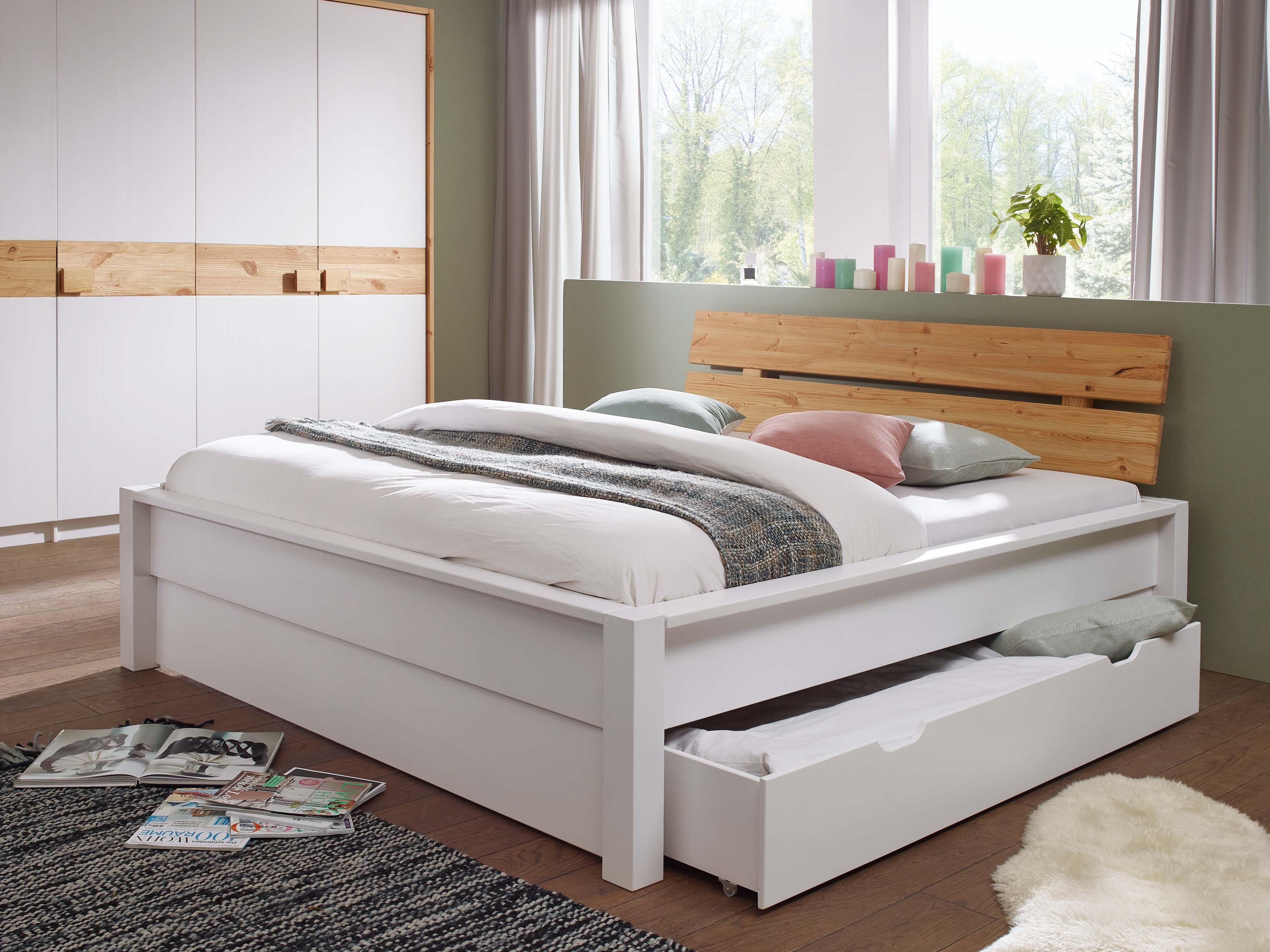 Tarina Doppelbett 180x200 Cm Material Massivholz Weiss Lackiert