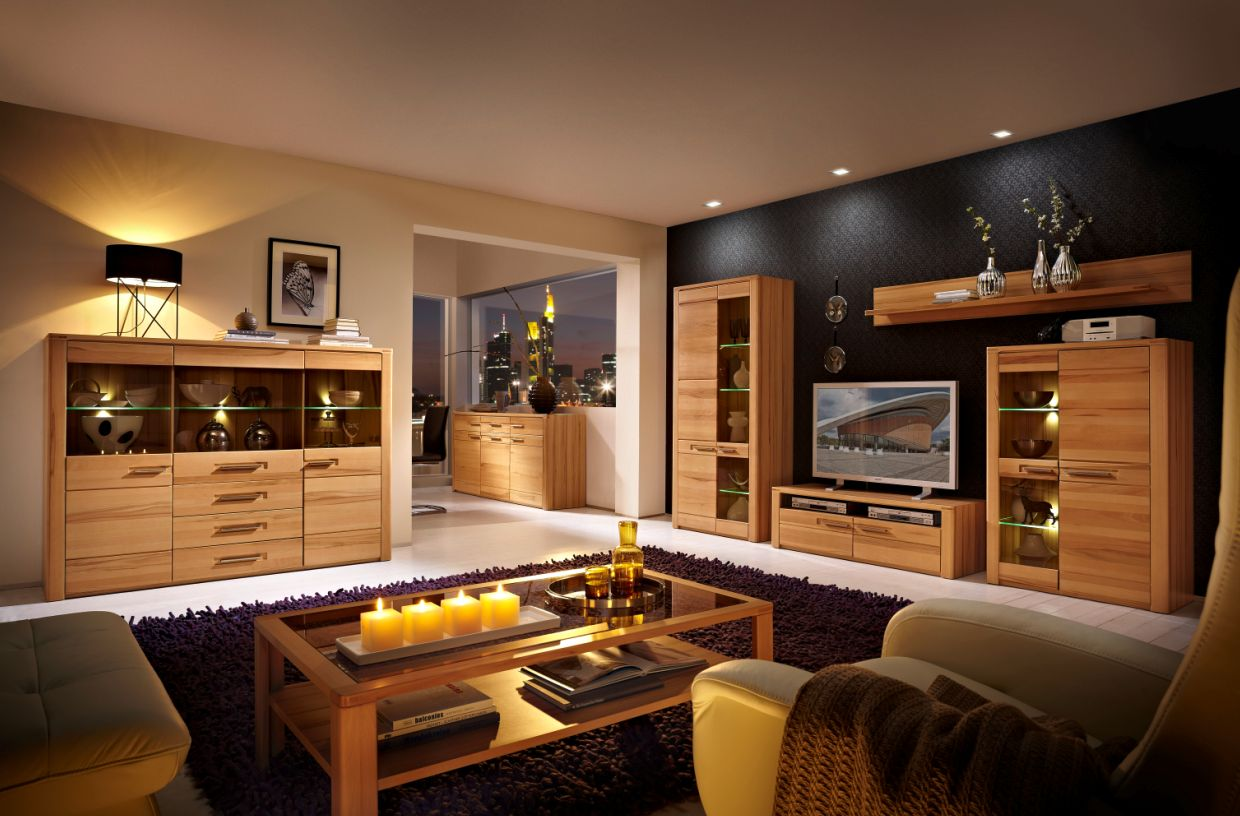nestor plus standvitrine klein kernbuche lackiert. Black Bedroom Furniture Sets. Home Design Ideas