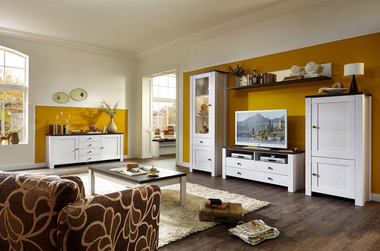 antwerpen i wohnwand l rche pinie dunkel. Black Bedroom Furniture Sets. Home Design Ideas