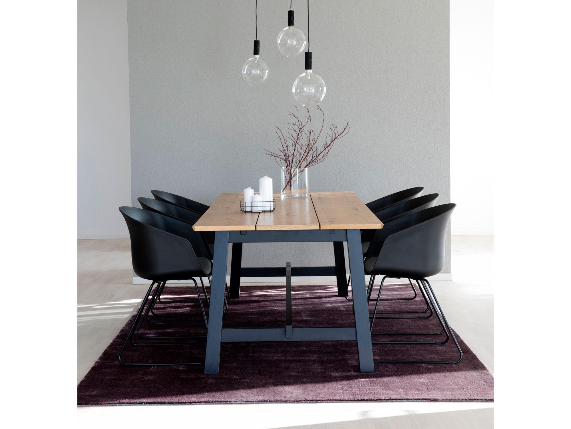 elena esstisch 220x95 cm wildeiche furniert mdf schwarz. Black Bedroom Furniture Sets. Home Design Ideas