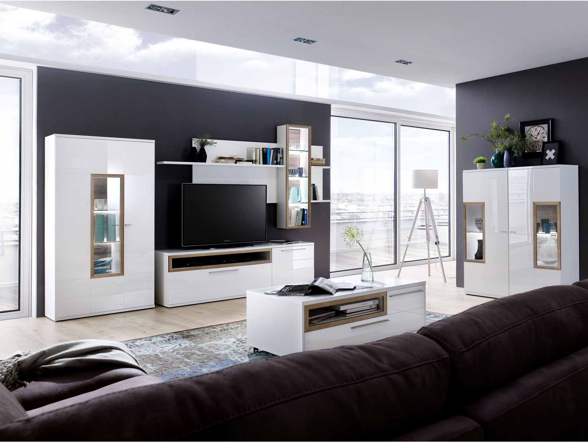 panorama highboard wei eiche riviera. Black Bedroom Furniture Sets. Home Design Ideas