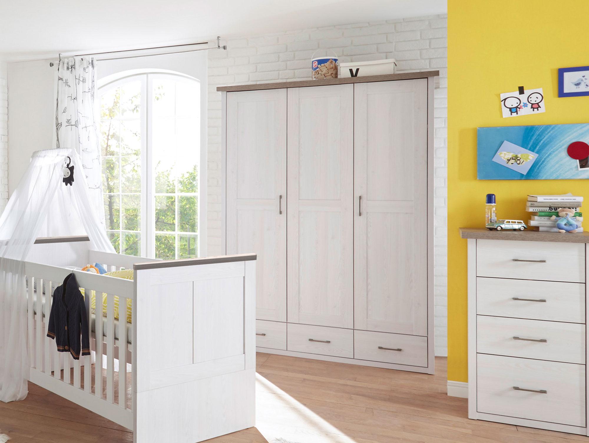 lucy kleiderschrank 3trg pinie wei tr ffel. Black Bedroom Furniture Sets. Home Design Ideas