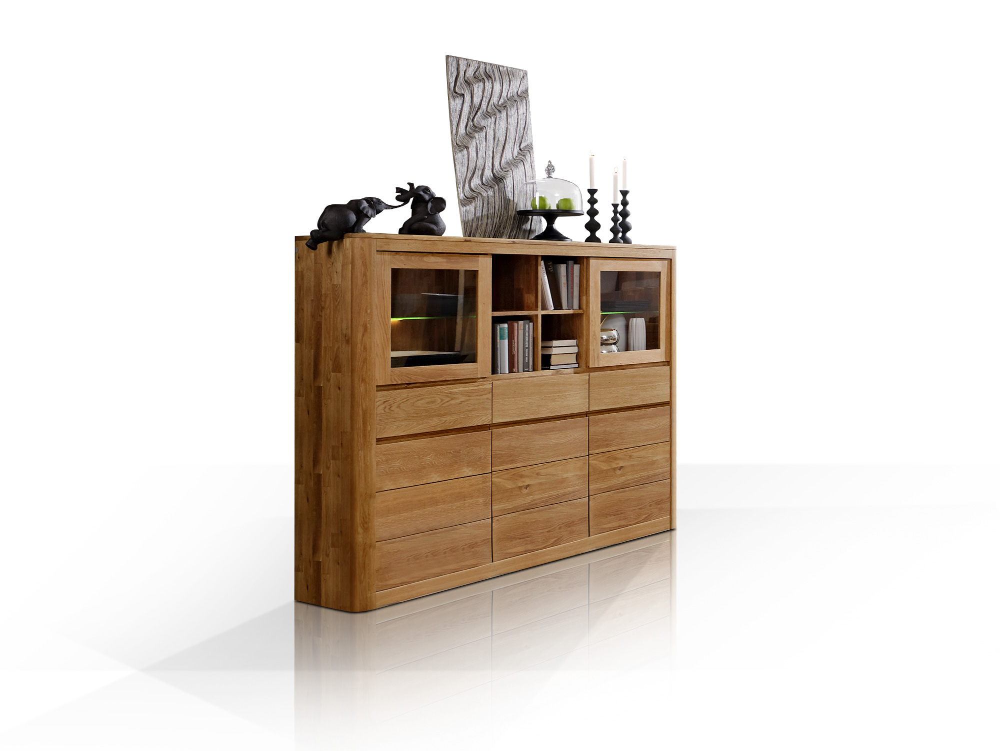 astoria i highboard wildeiche massiv ge lt. Black Bedroom Furniture Sets. Home Design Ideas