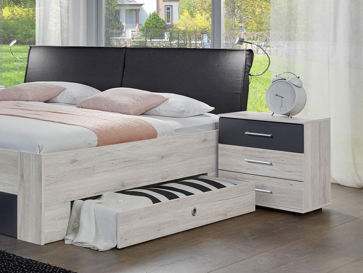 armenia bett mit sk 180x200 cm wei eiche anthrazit. Black Bedroom Furniture Sets. Home Design Ideas