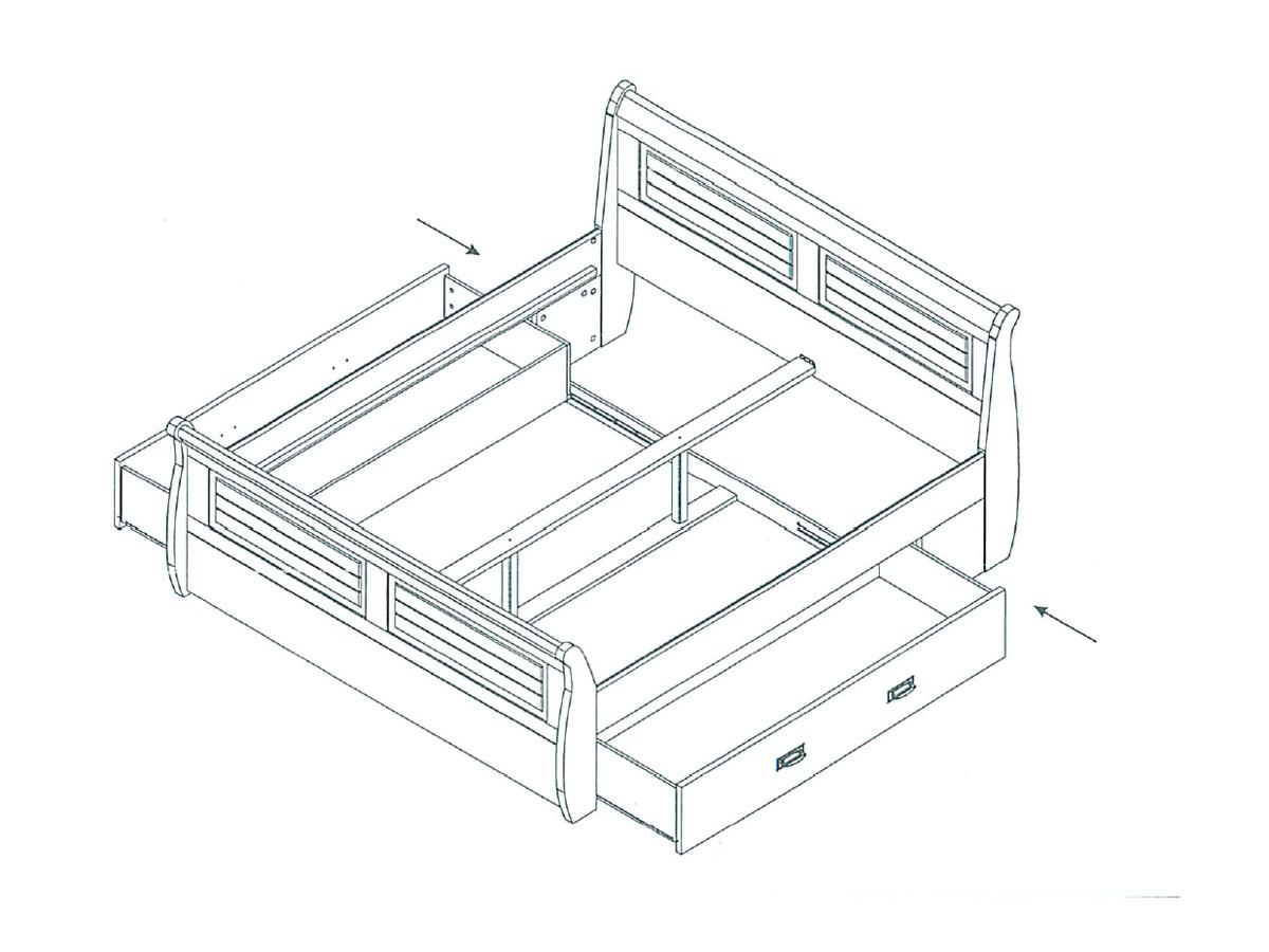 roman massivholzbett kiefer weiss 180 x 200 weiss gewachst mit bettkasten. Black Bedroom Furniture Sets. Home Design Ideas