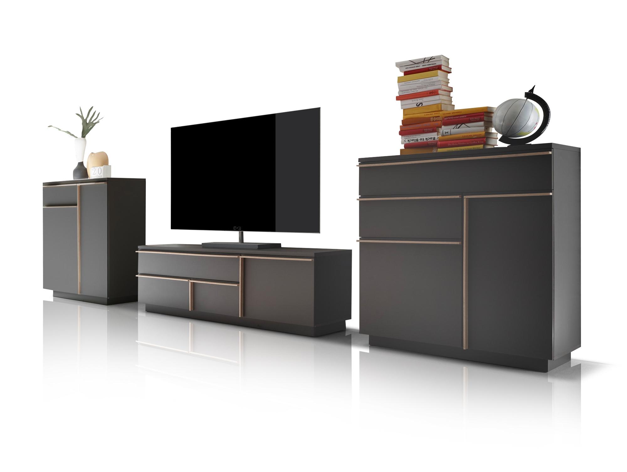 wohnwand sonoma eiche schwarz eigenschaften. Black Bedroom Furniture Sets. Home Design Ideas