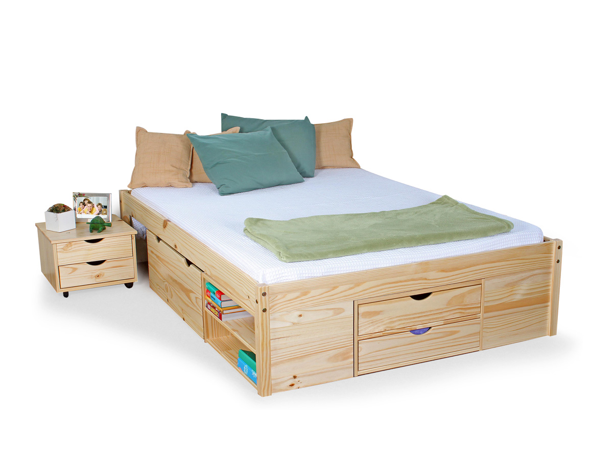 claas funktionsbett kiefer massiv natur 140 cm. Black Bedroom Furniture Sets. Home Design Ideas