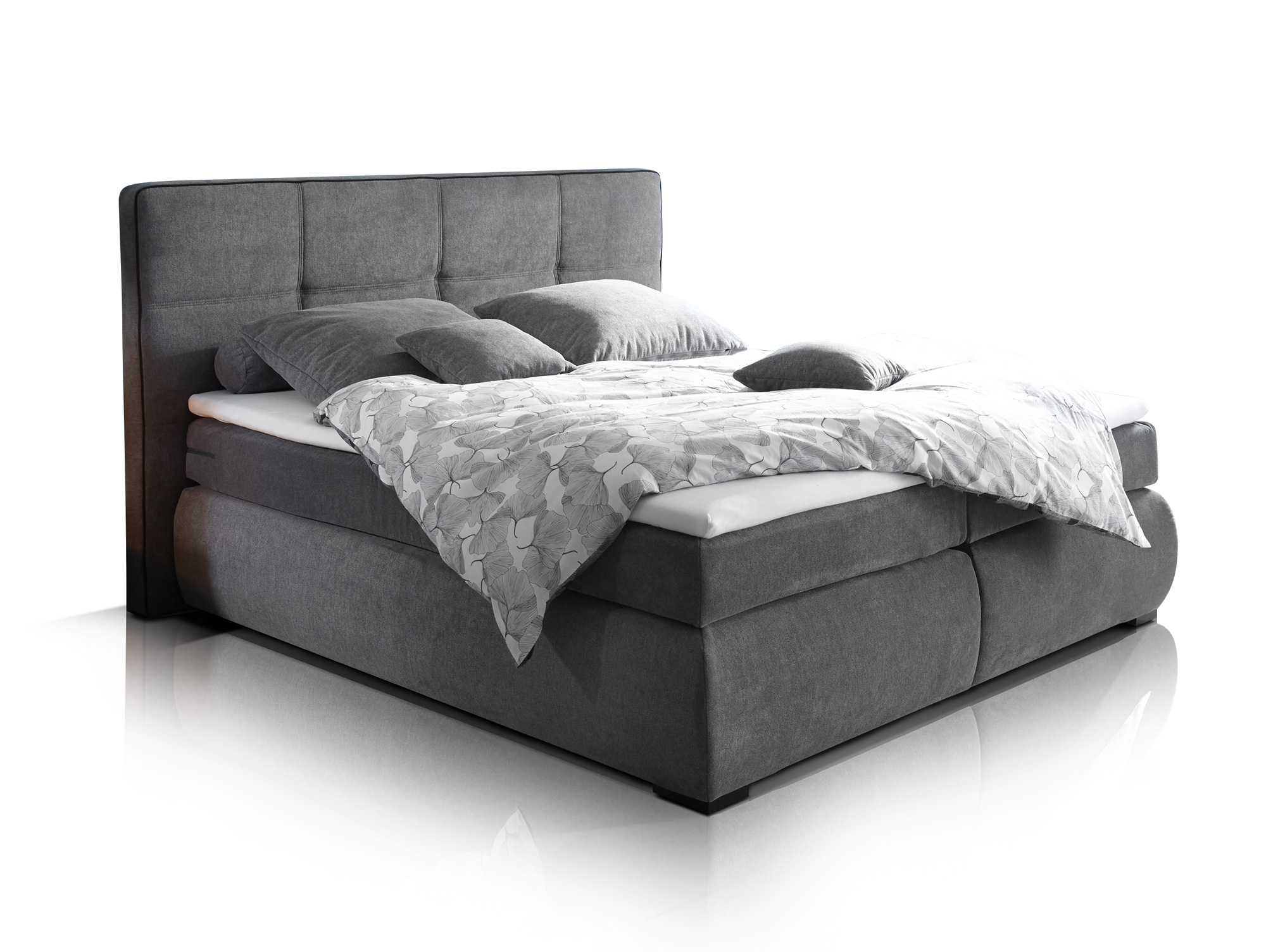 emmy boxspringbett doppelbett 180x200 cm dunkelgrau. Black Bedroom Furniture Sets. Home Design Ideas
