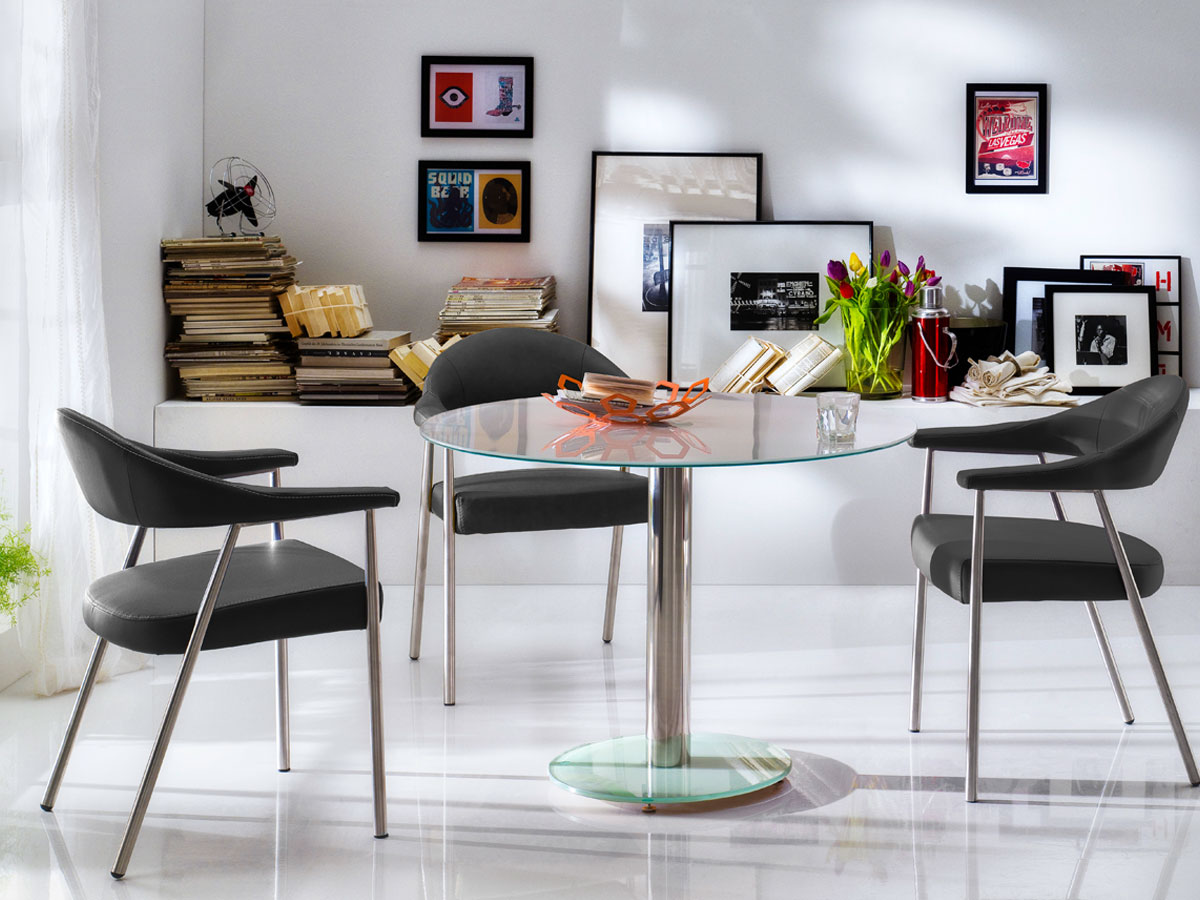 FALK Esstisch runder Glasesstisch weiss