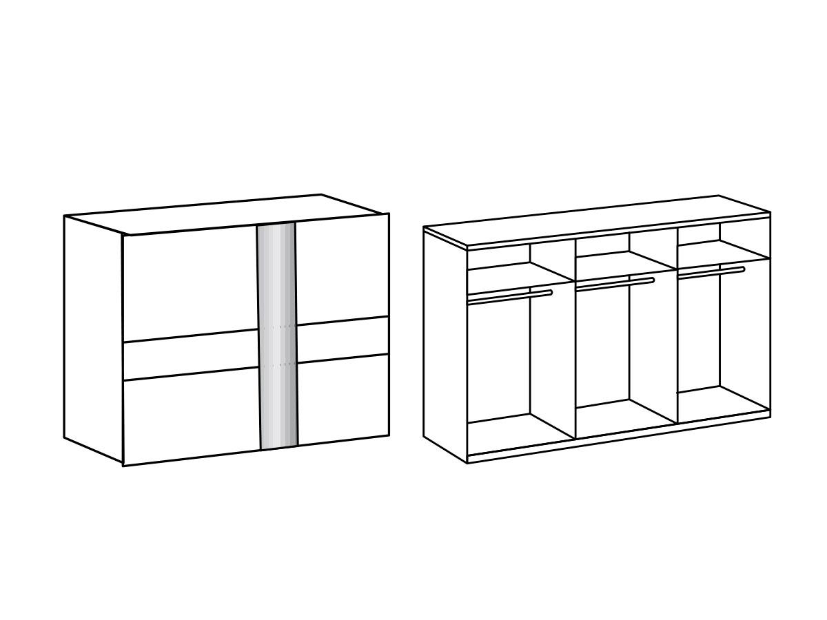 gino schwebet renschrank 300 cm weiss weiss. Black Bedroom Furniture Sets. Home Design Ideas