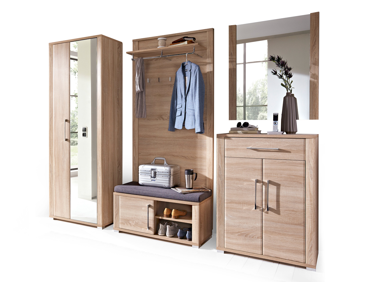 grande komplettgarderobe sonoma eiche hell. Black Bedroom Furniture Sets. Home Design Ideas
