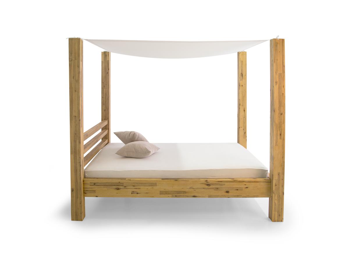 cosy himmelbett akazie brushed massivholz 160 x 200 cm. Black Bedroom Furniture Sets. Home Design Ideas