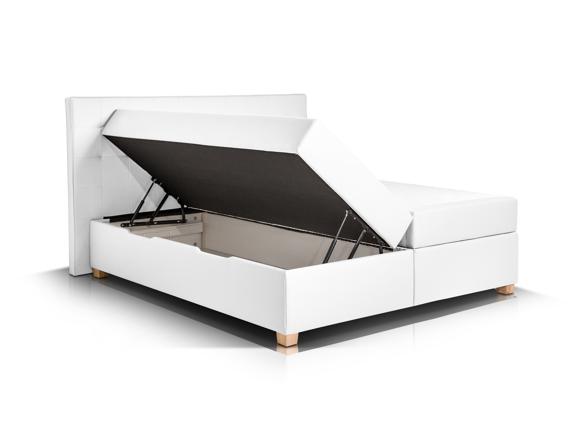ida boxspringbett kunstleder mit bettkasten 160 x 200 cm weiss h rtegrad 2. Black Bedroom Furniture Sets. Home Design Ideas