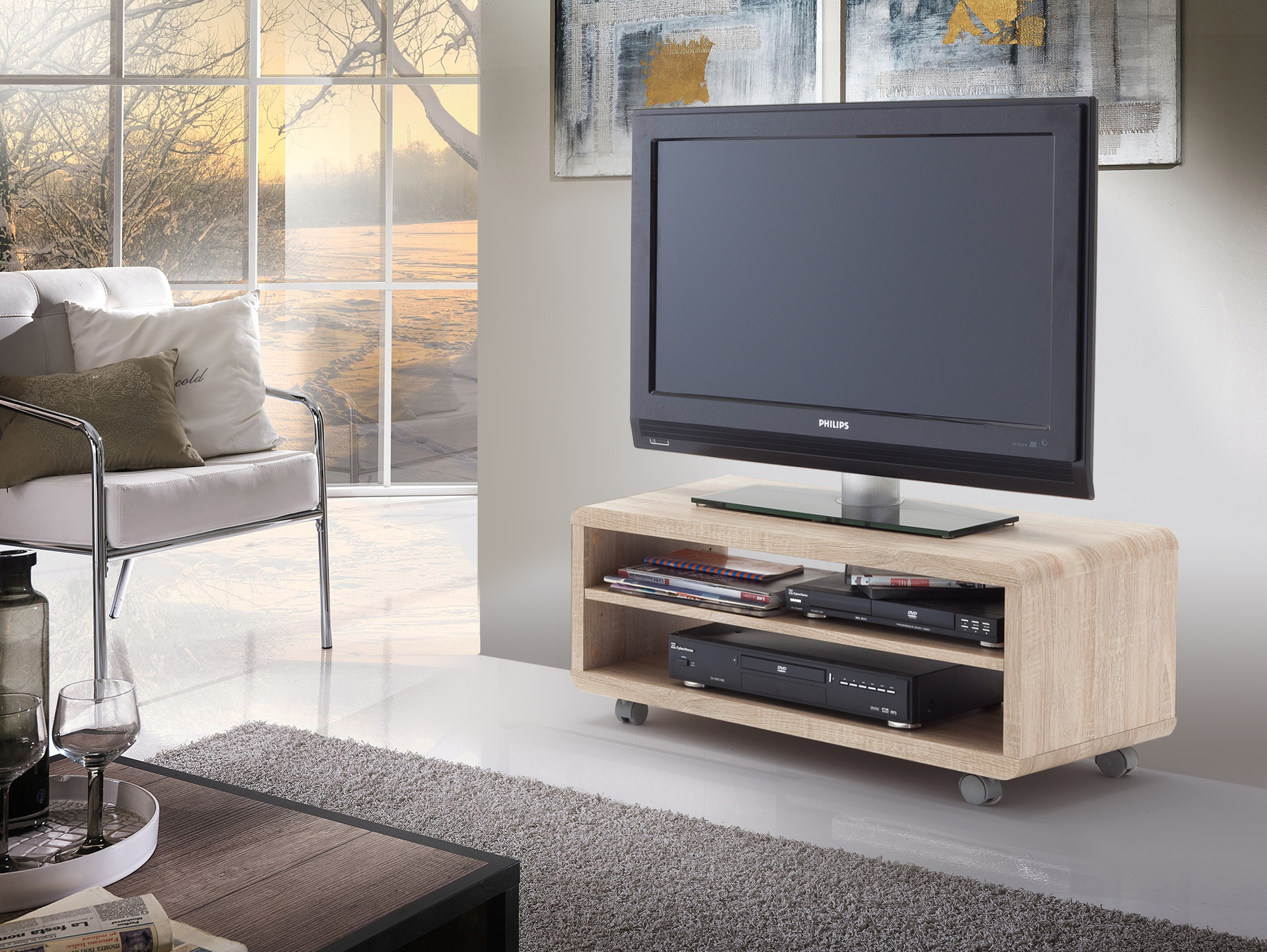 tv lowboard mit rollen inspirierendes. Black Bedroom Furniture Sets. Home Design Ideas
