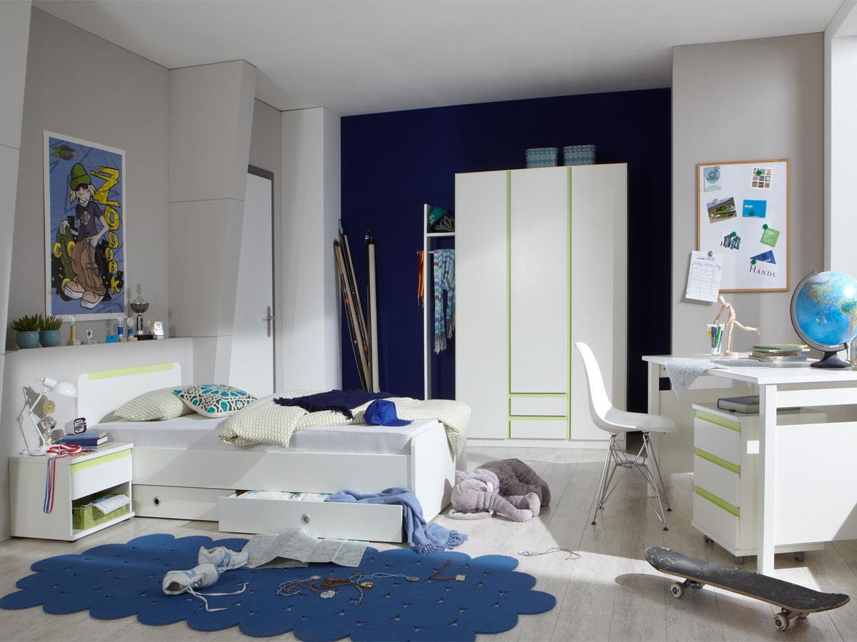 becca jugendbett 90x200 cm weiss apfelgr n. Black Bedroom Furniture Sets. Home Design Ideas