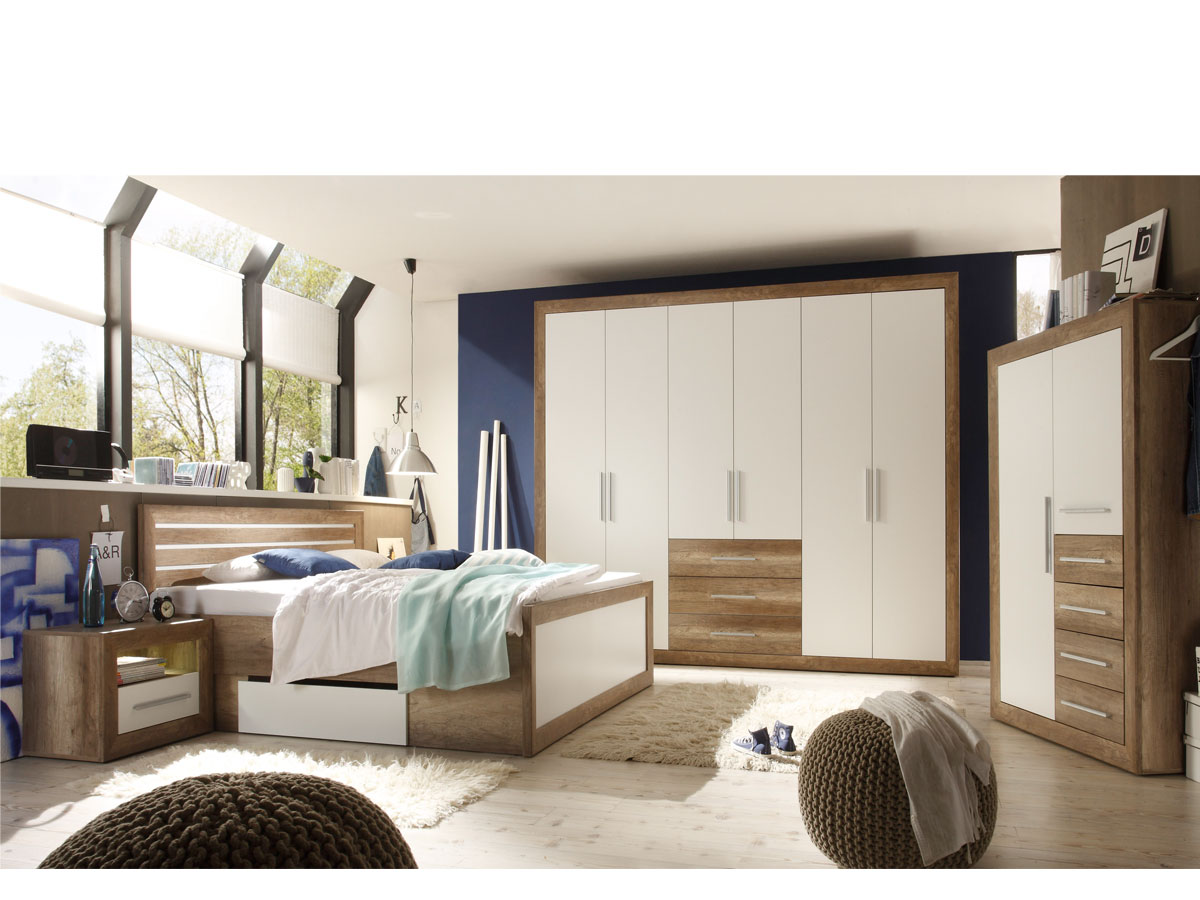 nando kleiderschrank 2 t rig canyon oak weiss. Black Bedroom Furniture Sets. Home Design Ideas