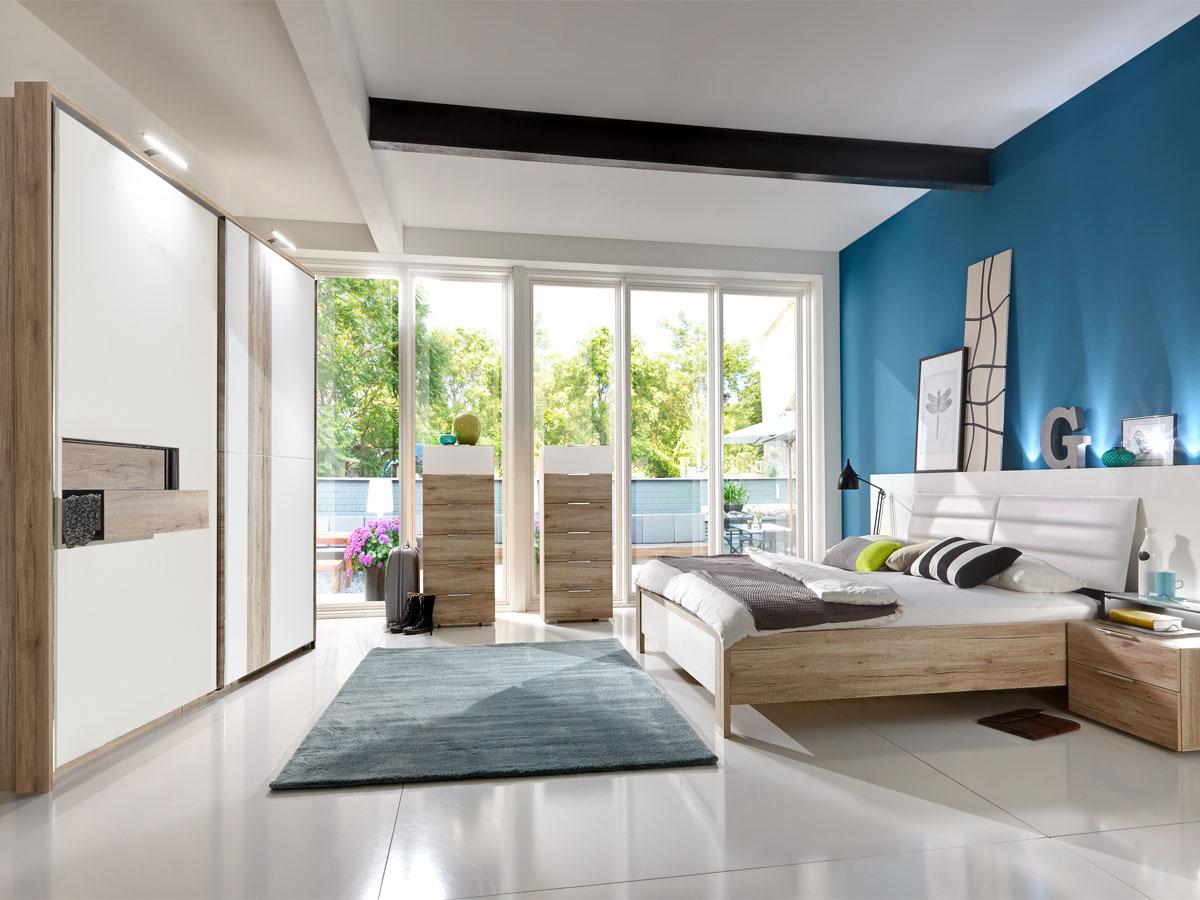 diva schwebet renschrank mit offenen fach 200 cm sanremo eiche weiss. Black Bedroom Furniture Sets. Home Design Ideas