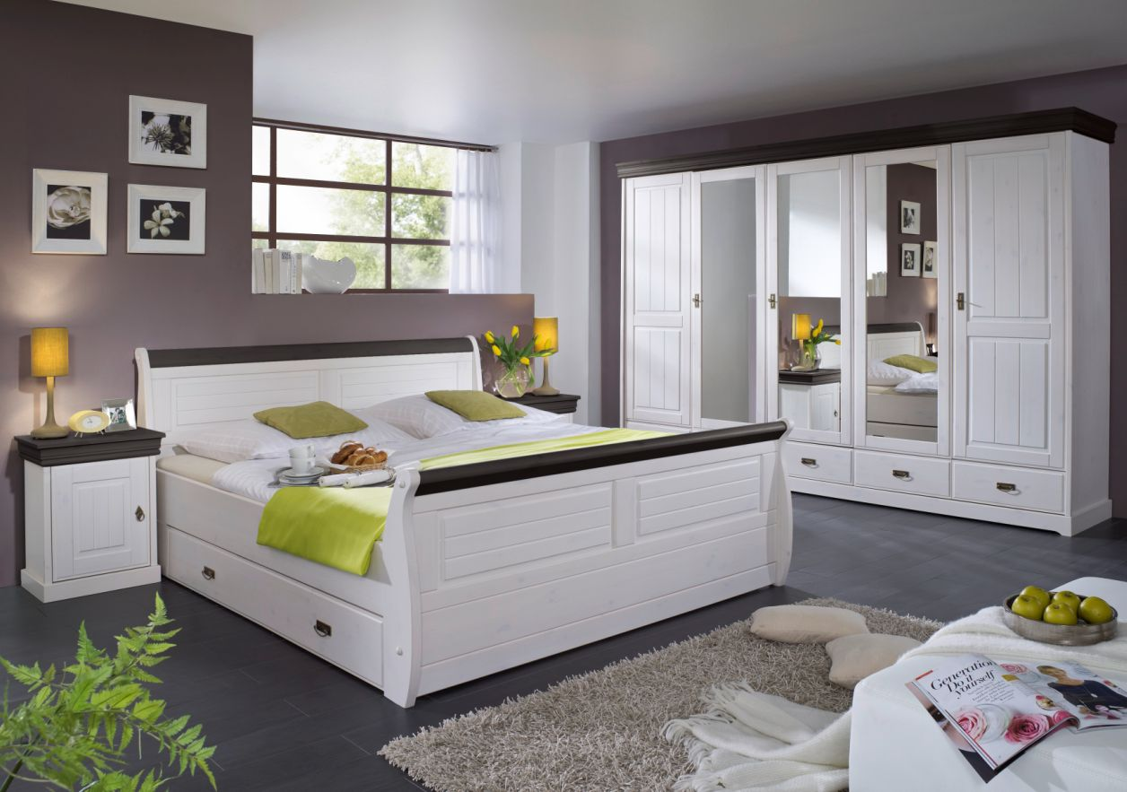roman massivholzbett kiefer wei 140 x 200 weiss colonial mit bettkasten. Black Bedroom Furniture Sets. Home Design Ideas