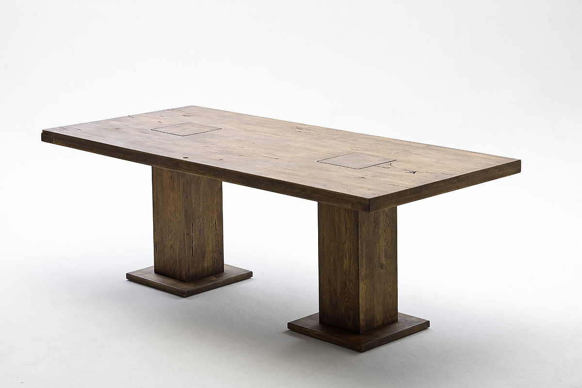 Malik massivholz s ulentisch eiche 180x90 cm bassano for Tisch massivholz eiche
