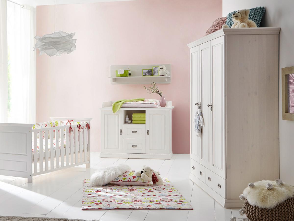 odette kleiderschrank 3trg kiefer massivholz wei gewachst. Black Bedroom Furniture Sets. Home Design Ideas