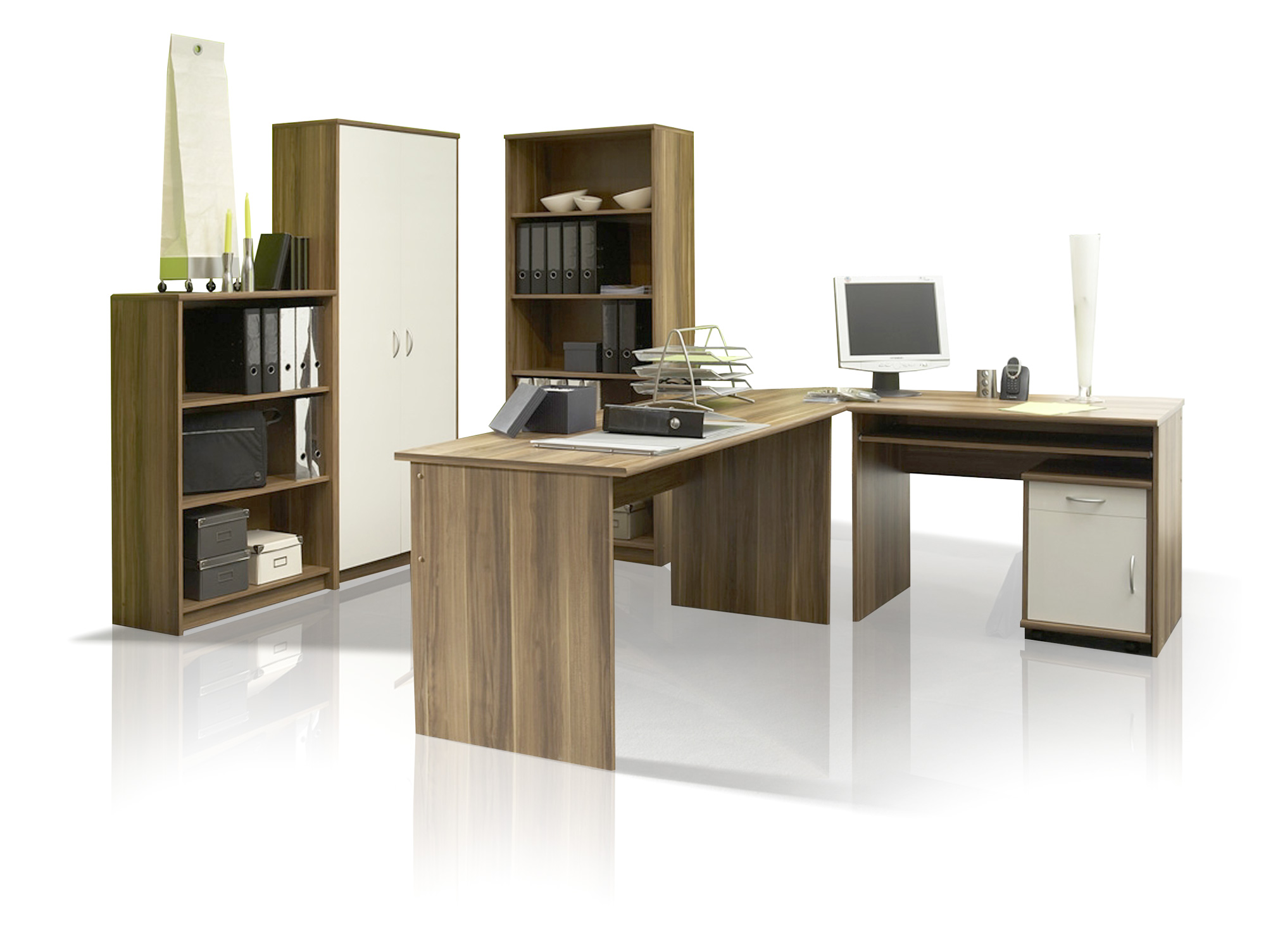 office compact heimb ro 5tlg walnuss wei dekor. Black Bedroom Furniture Sets. Home Design Ideas