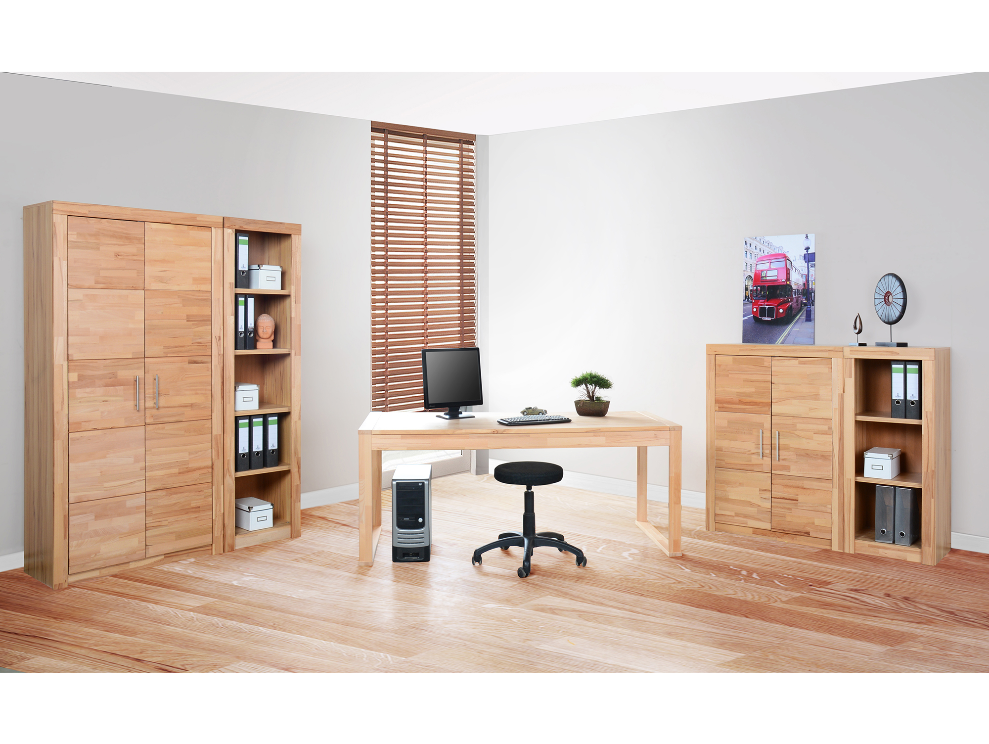 office four schreibtisch kernbuche. Black Bedroom Furniture Sets. Home Design Ideas