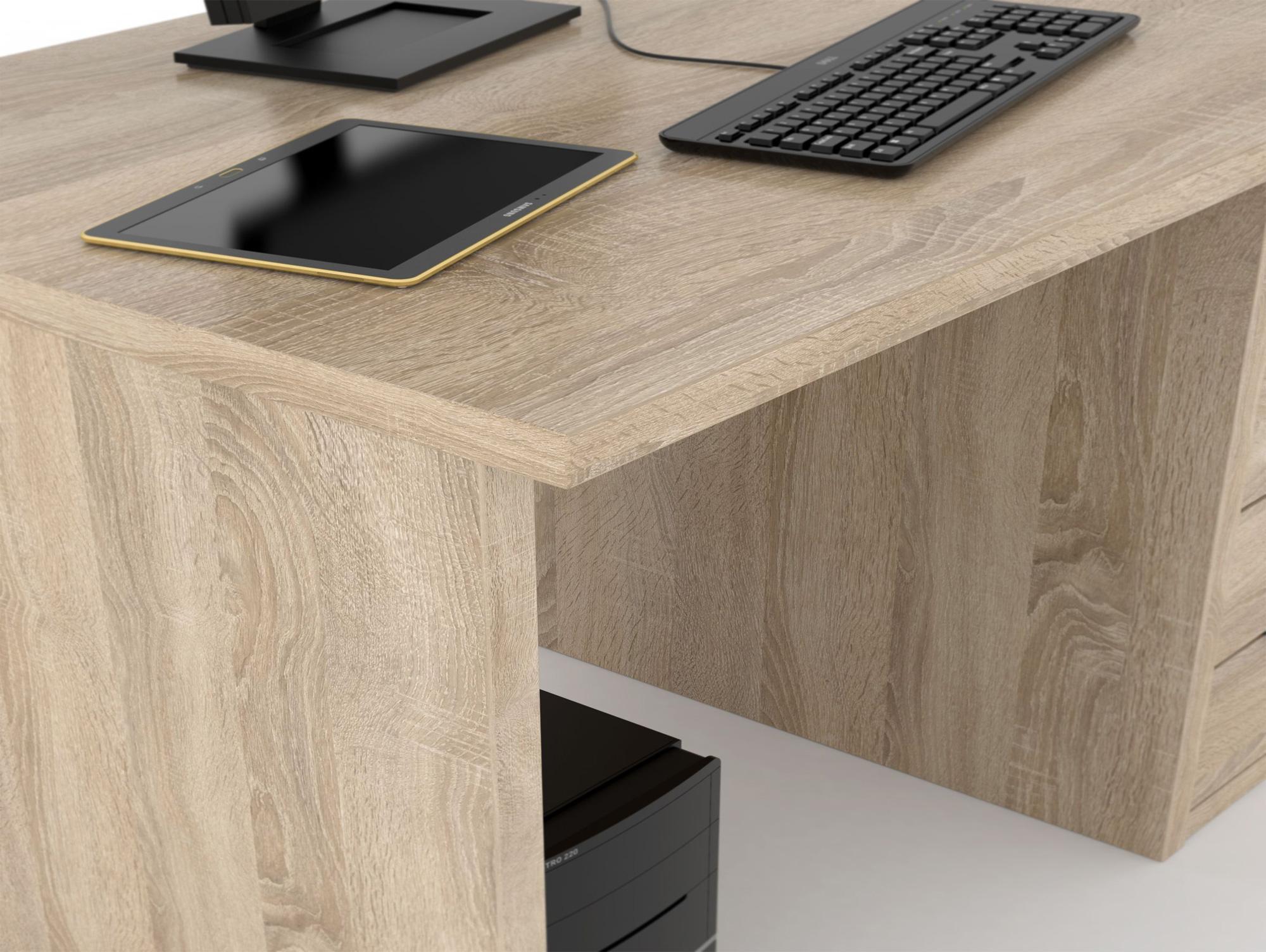 Orca schreibtisch 140 cm schubladen links eiche sonoma dekor for Schreibtisch 140